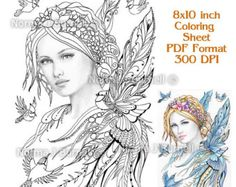 Jaye and Feathered Friends Bluejay Fairy Tangles Coloring Sheet Fairies Coloring Page by Norma J Burnell 8x10 Coloring Sheet