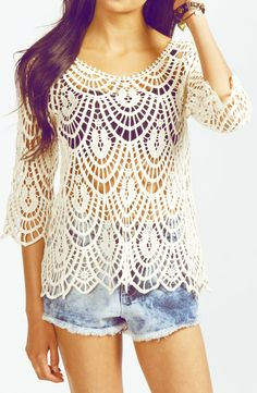 I love the crochet shirt but needs a shirt under      ♪ ♪ ... #inspiration #diy GB http://www.pinterest.com/gigibrazil/boards/