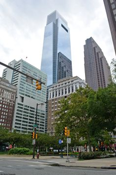 Comcast Center, the tallest building presently in Philadelphia, is seen in the center of the photo. Three Logan Square, the 5th tallest, is on the right.