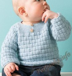 Baby's undershirt or pullover (d) of Phildar No. Boys Knitting Patterns Free, Baby Cardigan Knitting Pattern Free, Baby Hats Knitting, Knitting For Kids, Pull Bebe, Knit Baby Sweaters, Crochet Baby Clothes, Baby Kind, Kind Mode
