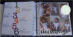 baby album, baby scrapbook, baby album layout, baby scrapbook layout, baby album page, baby boy album, growth chart, monthly stats, baby milestones