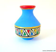 Vase Pottery Terracotta Home Decor Indian Handicraft Blue Brush Holder  Rajasthani Warli Painting Clay Craft From Rajasthan In West India