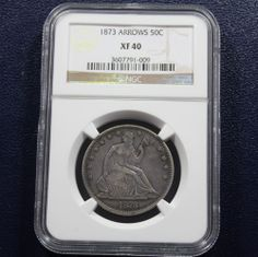 1873 Seated Liberty Half Dollar NGC XF40 - Arrows. Available now at Finger Lakes Numismatics. Visit our store or contact us at (315) 308-6943 or email us at coins.fln@gmail.com