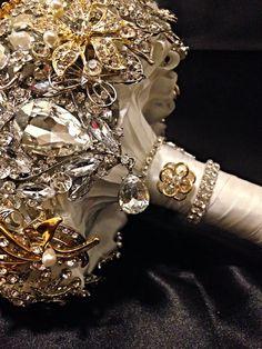 Silver Gold Wedding Brooch Bouquet. Deposit on by NatalieKlestov, $55.00
