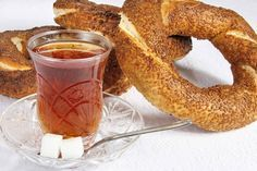 turkish tea and simit ( unique turkish sesame bagel ). Perfect match