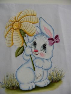 SAM_1345 | por Raquel - Pintando o 7 Bunny Painting, Tole Painting, Painting For Kids, Fabric Painting, Painting & Drawing, Machine Embroidery Designs, Embroidery Stitches, Embroidery Patterns, Hand Embroidery