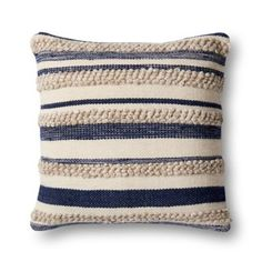Magnolia Home By Joanna Gaines Zander Square Throw Pillow In Navy/ivory