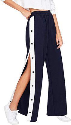e7825b483a202 SOLY HUX Damen Hosen Sweatshose Streifen Sweatpants Elastischer Bund  Jogginghose mit Knöpfe Locker Marineblau L: