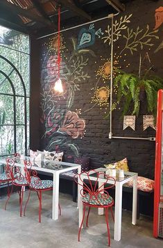 Loja Love It Cafe - Restaurant ~ Cafe - Loja Love It Cafe - Restaurant ~ Caf. Cafe Restaurant, Restaurant Design, Modern Restaurant, Coffee Shop Design, Cafe Design, Interior Design, Shop Interiors, Boho Decor, Mural Wall