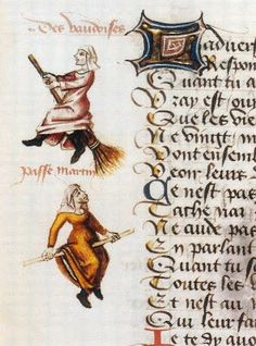 Earliest known illustrated example of a witch on a broomstick in 1451 manuscript, Flight of the Witches