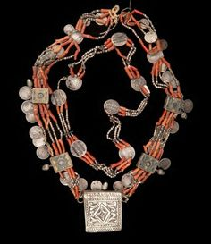 Algerian Kabyle necklace with coral, silver coins, and a silver hirz. Beautiful, traditional, and rare necklace.: