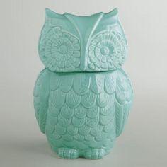 One of my favorite discoveries at WorldMarket.com: Aqua Owl Cookie Jar