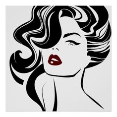 Retro girl red lips poster Hair Icon, Retro Girls, Caricatures, Learn To Draw, Custom Posters, Woman Face, Red Lips, Decoupage, Pop Art