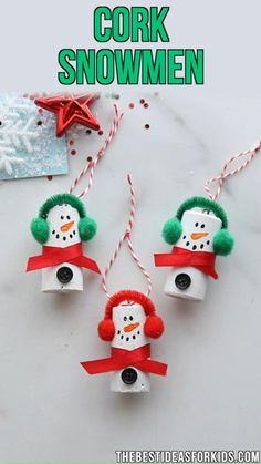 Christmas Crafts For Toddlers, Winter Crafts For Kids, Christmas Crafts For Gifts, Christmas Ornaments To Make, Kids Christmas, Cork Ornaments, Snowman Ornaments, Christmas Presents, Wine Cork Crafts