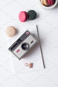 Vintage Camera & Macaron Flatlay by StockWithHeart on @creativemarket, Styled Stock Photos
