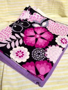 Purple Floral Baby Rreceving Swaddling Blanket  Double Sided Oversized Handmade #Handmade