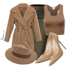 A fashion look from August 2015 featuring N°21 coats, Jimmy Choo pumps and Larose hats. Browse and shop related looks.