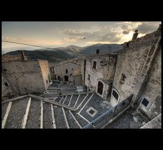 View from the Steps of Chiesa Matrice di San Marco, Castel del Monte, Abruzzo  - featured in The American with George Clooney.