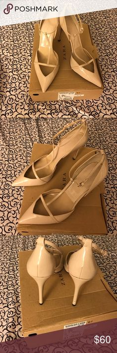 "Zara T-Bar Pigalle Beige patent leather ZARA t- bar pointed-toe pumps with tonal stitching throughout, covered heels and snap closures at tops. Includes box 📦  Condition: Very Good. Moderate wear at soles; minor wear at insoles.  Measurements: Heels 5"" Size 41 EU Zara Shoes Heels"