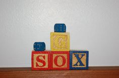 Go Sox Alphabet Blocks, Vintage Wooden ABC Blocks, Baseball Gift, Vintage Dice, Baseball Party Decoration, Photography Prop, Wood Blocks - SOLD! :)