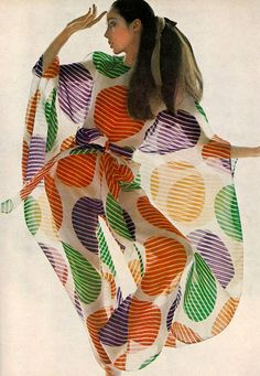 Retro striped polka dots Photo by Bert Stern, 1969. #fashion #print