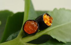 Roe Sushi Rolls Ear Studs 'Orange'  Miniature Food by TheMenu, $15.00