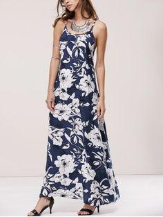 Sleeveless Criss Cross  Back Blue and White Floral Print Maxi Dress #Blue_and_White #Criss_Cross #Maxi_Dresses