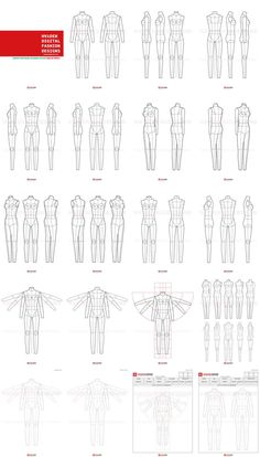 Fashion Flats Body Templates Female - Special Edition ( - 12 Page ) for a fashion designer These templates can be printed out and used for hand drawn flats Fashion Sketch Template, Fashion Figure Templates, Fashion Design Template, Fashion Design Sketches, Web Design, Layout Design, Graphic Design, Mode Portfolio Layout, Fashion Portfolio Layout