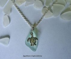 Beach glass necklace. Sea turtle necklace. by EgyptianInspirations, $23.99