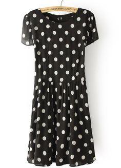#SheInside Black Short Sleeve Polka Dot Chiffon Dress