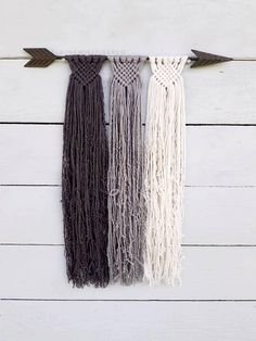 Custom Macrame Wall Hanging Rustic Metal Arrow Boho