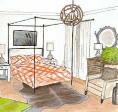 Earthy Modern bedroom rendering
