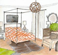 Earthy Modern bedroom rendering