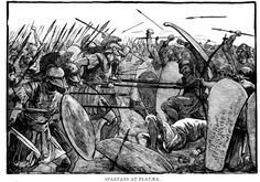 """illustration, """"Spartans at Plataea."""" Greeks under Spartan leader Pausanias defeat the Persians at the Battle of Plataea in 479 B. during the Persian Wars. Art Of Manliness, Sun Tzu, Battle Of Plataea, Reincarnation Story, Ancient Sparta, Greco Persian Wars, Ancient World History, Spartan Warrior, Trojan War"""