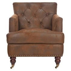 Safavieh Colin Tufted Caramel Brown Leather Club Chair with Casters.Opens in a new window