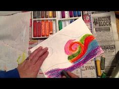 Non-objective oil pastel blending - YouTube