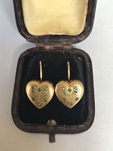 Vintage-Victorian-Antique-Gold-Heart-Gemset-Emerald-Earrings-Heavy