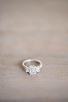Elegant three stone engagement ring: http://www.stylemepretty.com/washington-weddings/seattle/2016/05/11/this-seattle-wedding-has-the-ultimate-cool-factor/   Photography: Alexandra Grace Photo - http://alexgracephotography.com/