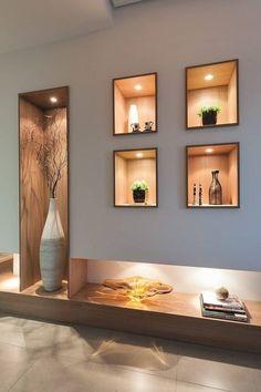 Hall de entrada, Home, Living e Gourmet par Andréa Carvalho Arquitetos Associados - Photo Niche Design, Shelf Design, Home Design, Wall Design, Home Interior Design, Design Ideas, Design Design, Design Room, Ceiling Design