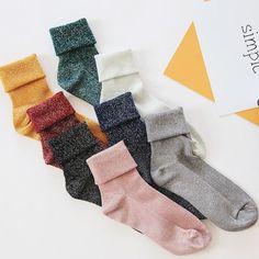 Winter Cotton Solid Shiny Woman Simple Socks Fashion Art Fold Female  Student Thick Warm Socks Shiny Metallic Line Sock b25fad87629e