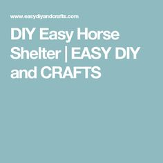 DIY Easy Horse Shelter | EASY DIY and CRAFTS