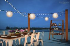 Vintage inspired outdoor wedding reception by the beach