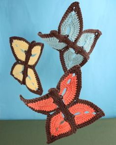 Time will flutter by as you crochet this sweet and whimsical butterfly dishcloth.