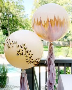 Hand Painted and Custom Balloons. Baby Shower Decor. Butterflies.