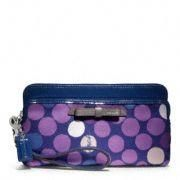 Coach :: Poppy Double Zip Wallet In Watercolor Dot Print Fabric
