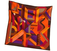 2014 F/W | Perspective Cavalière | Printed 65% cashmere and 35% silk shawl, hand rolled, 140x140cm | Ref. H242832S 04 | ORANGE/VIOLET/MARRON