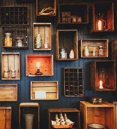 Wooden wall blackboard and wood Wine box shelves