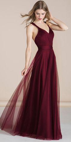 Exquisite Tulle V-neck Neckline Floor-length A-line Bridesmaid Dresses