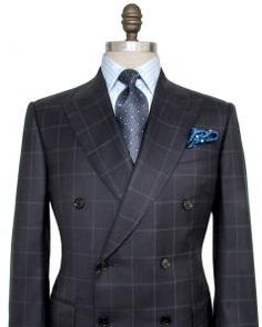 Image of Ermenegildo Zegna Navy Windowpane Suit