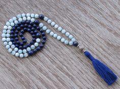 Aquamarine and Lapis Lazuli Mala Necklace  Buddhist by BBTresors